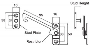 Concealed Long Arm Restrictors Dimensions