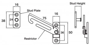 Concealed Short Arm Restrictor Dimensions